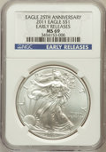 Modern Bullion Coins, 2011 $1 One Ounce Silver Eagle, 25th Anniversary Set, EarlyReleases MS69 NGC. NGC Census: (7092/17328). PCGS Population (6...