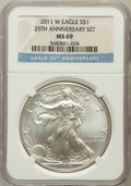 Modern Bullion Coins, 2011-W $1 One Ounce Silver Eagle, 25th Anniversary Set MS69 NGC.NGC Census: (6842/8769). PCGS Population (907/611). Numis...