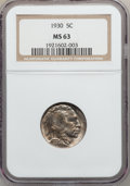 Buffalo Nickels: , 1930 5C MS63 NGC. NGC Census: (121/1025). PCGS Population(165/2199). Mintage: 22,849,000. Numismedia Wsl. Price forproble...