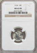 Mercury Dimes: , 1924 10C MS63 Full Bands NGC. NGC Census: (32/273). PCGS Population(78/424). Mintage: 24,010,000. Numismedia Wsl. Price fo...