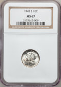 Mercury Dimes: , 1945-S 10C MS67 NGC. NGC Census: (1026/362). PCGS Population(337/1). Mintage: 41,920,000. Numismedia Wsl. Price for proble...