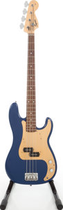 Musical Instruments:Bass Guitars, 2002 Fender Squire Precision Bass Blue Electric Bass Guitar, Serial# CY02014680....