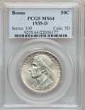 Commemorative Silver: , 1935-D 50C Boone MS64 PCGS. PCGS Population (418/421). NGC Census:(242/326). Mintage: 5,005. Numismedia Wsl. Price for pro...