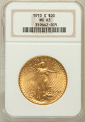 Saint-Gaudens Double Eagles: , 1910-S $20 MS63 NGC. NGC Census: (1079/619). PCGS Population(1175/1246). Mintage: 2,128,250. Numismedia Wsl. Price for pro...