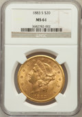 Liberty Double Eagles: , 1883-S $20 MS61 NGC. NGC Census: (701/486). PCGS Population(469/883). Mintage: 1,189,000. Numismedia Wsl. Price for proble...