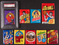 Basketball Cards:Lots, 1972, 1975, 1977 and 1981 Topps Basketball Wax Pack Collection (9)....