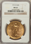 Saint-Gaudens Double Eagles: , 1913-D $20 MS63 NGC. NGC Census: (1088/994). PCGS Population(1218/1630). Mintage: 393,500. Numismedia Wsl. Price for probl...