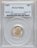 Roosevelt Dimes, (2)1957 10C MS66 PCGS and (2) 1957 10C MS66 NGC. ... (Total: 4coins)