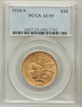 Indian Eagles: , 1910-S $10 AU55 PCGS. PCGS Population (262/1001). NGC Census:(183/1068). Mintage: 811,000. Numismedia Wsl. Price for probl...