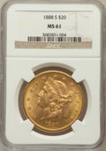 Liberty Double Eagles: , 1888-S $20 MS61 NGC. NGC Census: (857/962). PCGS Population(456/1331). Mintage: 859,600. Numismedia Wsl. Price for problem...