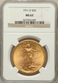 Saint-Gaudens Double Eagles: , 1911-D $20 MS63 NGC. NGC Census: (2839/5881). PCGS Population(2623/5735). Mintage: 846,500. Numismedia Wsl. Price for prob...