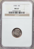 Roosevelt Dimes, (2)1958 10C MS67 NGC. ... (Total: 2 coins)