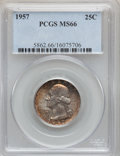 Washington Quarters, 1957 25C MS66 NGC and (2)1957 25C MS66 PCGS. ... (Total: 3 coins)
