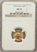 Modern Bullion Coins: , 1999 G$5 Tenth-Ounce Gold Eagle MS70 NGC. NGC Census: (1389). PCGSPopulation (138). Numismedia Wsl. Price for problem fre...