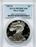 Modern Bullion Coins: , 1997-P $1 One Ounce Silver Eagle PR70 Deep Cameo PCGS. PCGSPopulation (511). NGC Census: (9305). Numismedia Wsl. Price fo...
