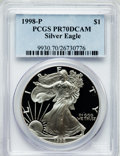 Modern Bullion Coins: , 1998-P $1 One Ounce Silver Eagle PR70 Deep Cameo PCGS. PCGSPopulation (853). NGC Census: (1031). Numismedia Wsl. Price fo...