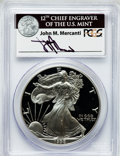 Modern Bullion Coins: , 1998-P $1 One Ounce Silver Eagle Insert autographed By John M.Mercanti,12th Chief Engraver of the U.S. Mint, PR70 Deep Cameo...