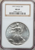Modern Bullion Coins: , 1997 $1 Silver Eagle MS69 NGC. NGC Census: (71439/483). PCGSPopulation (3689/3). Mintage: 4,295,004. Numismedia Wsl. Price...