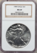 Modern Bullion Coins: , 1989 $1 Silver Eagle MS69 NGC. NGC Census: (91553/344). PCGSPopulation (4701/0). Mintage: 5,203,327. Numismedia Wsl. Price...