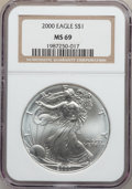 Modern Bullion Coins: , 2000 $1 Silver Eagle MS69 NGC. NGC Census: (75679/171). PCGSPopulation (5791/1). Numismedia Wsl. Price for problem free N...