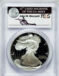 Modern Bullion Coins, 1991-S $1 One Ounce Silver Eagle Insert autographed By John M.Mercanti,12th Chief Engraver of the U.S. Mint, PR70 Deep C...