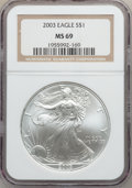 Modern Bullion Coins: , 2003 $1 Silver Eagle MS69 NGC. NGC Census: (101854/2136). PCGSPopulation (9199/405). Numismedia Wsl. Price for problem fr...
