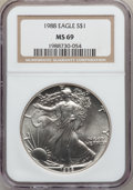 Modern Bullion Coins: , 1988 $1 Silver Eagle MS69 NGC. NGC Census: (81237/263). PCGSPopulation (4984/1). Mintage: 5,004,646. Numismedia Wsl. Price...