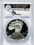 Modern Bullion Coins: , 1991-S $1 One Ounce Silver Eagle Insert autographed By John M.Mercanti,12th Chief Engraver of the U.S. Mint, PR70 Deep Cameo...