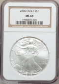 Modern Bullion Coins, 2006 $1 Silver Eagle MS69 NGC. NGC Census: (115766/3823). PCGSPopulation (7176/375). Numismedia Wsl. Price for problem fr...