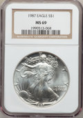 Modern Bullion Coins: , 1987 $1 Silver Eagle MS69 NGC. NGC Census: (84165/289). PCGSPopulation (6115/10). Mintage: 11,442,335. Numismedia Wsl. Pri...