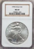 Modern Bullion Coins: , 1998 $1 Silver Eagle MS69 NGC. NGC Census: (83591/252). PCGSPopulation (3259/17). Numismedia Wsl. Price for problem free ...