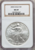 Modern Bullion Coins: , 2004 $1 Silver Eagle MS69 NGC. NGC Census: (98693/2039). PCGSPopulation (9759/117). Numismedia Wsl. Price for problem fre...