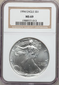 Modern Bullion Coins, 1994 $1 Silver Eagle, MS69 NGC. PCGS Population (516/0)....