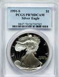 Modern Bullion Coins: , 1991-S $1 One Ounce Silver Eagle PR70 Deep Cameo PCGS. PCGSPopulation (372). NGC Census: (507). Mintage: 511,925. Numismed...