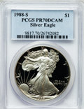 Modern Bullion Coins, 1988-S $1 One Ounce Silver Eagle PR70 Deep Cameo PCGS. PCGSPopulation (342). NGC Census: (589). Mintage: 557,370. Numismed...