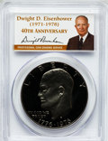 Proof Eisenhower Dollars, 1976-S $1 Clad, Type Two Insert autographed By Dwight D. Eisenhower40th Anniversary, PR69 Deep Cameo PCGS. PCGS Population...