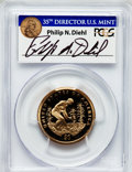 Proof Sacagawea Dollars, 2009-S $1 Native American Insert autographed By Philip N. Diehl,35th Mint Director U.S. Mint, PR69 Deep Cameo PCGS. PCGS P...