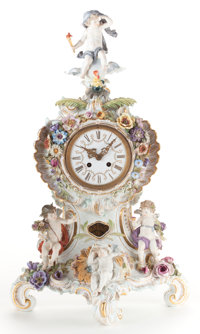 A MEISSEN PORCELAIN FIGURAL CLOCK: PUTTI DESCRIBING TIME OF DAY Early 20th century Marks