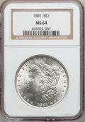 Morgan Dollars: , 1881 $1 MS64 NGC. NGC Census: (3877/686). PCGS Population(3940/1007). Mintage: 9,163,975. Numismedia Wsl. Price forproble...