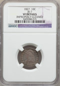 Bust Dimes: , 1827 10C -- Improperly Cleaned -- NGC Details. VF. JR-7. NGCCensus: (4/263). PCGS Population (11/297). Mintage: 1,300,000...