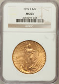 Saint-Gaudens Double Eagles: , 1910-S $20 MS63 NGC. NGC Census: (1079/619). PCGS Population(1175/1242). Mintage: 2,128,250. Numismedia Wsl. Price for pro...