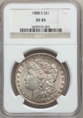 Morgan Dollars: , 1888-S $1 XF45 NGC. NGC Census: (80/3576). PCGS Population(164/6054). Mintage: 657,000. Numismedia Wsl. Price for problem ...
