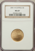 Modern Issues, 2001-W $5 Capitol Visitor's Center Five Dollar MS69 NGC. NGCCensus: (887/1086). PCGS Population (2771/226). Numismedia Ws...