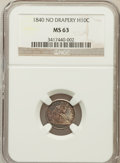 Seated Half Dimes: , 1840 H10C No Drapery MS63 NGC. NGC Census: (58/108). PCGSPopulation (57/83). Mintage: 1,000,000. Numismedia Wsl. Pricefor...