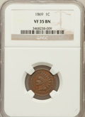 Indian Cents: , 1869 1C VF35 NGC. NGC Census: (24/453). PCGS Population (40/492).Mintage: 6,420,000. Numismedia Wsl. Price for problem fre...