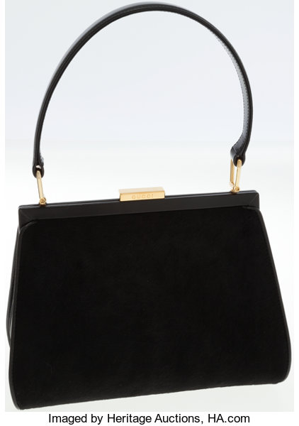 22d74ea3801 Gucci Black Ponyhair and Leather Top Handle Classic Bag. ... Luxury ...