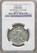 Walking Liberty Half Dollars: , 1938-D 50C -- Improperly Cleaned -- NGC Details. VF. NGC Census:(147/1695). PCGS Population (224/3220). Mintage: 491,600. ...