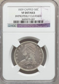 Reeded Edge Half Dollars, 1839 50C Capped -- Improperly Cleaned -- NGC Details. VF. NGCCensus: (5/362). PCGS Population (3/427). Mintage: 1,392,976....