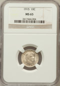 Barber Dimes: , 1915 10C MS65 NGC. NGC Census: (42/8). PCGS Population (47/10).Mintage: 5,620,450. Numismedia Wsl. Price for problem free ...