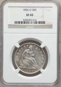 Seated Half Dollars: , 1856-O 50C XF45 NGC. NGC Census: (13/189). PCGS Population(46/190). Mintage: 2,658,000. Numismedia Wsl. Price for problem ...